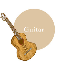 Colored guitar in hand-drawn style vector