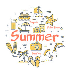 colorful icons in summer holidays theme vector image