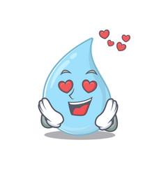 Cute raindrop cartoon has a falling in love face vector