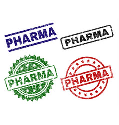 Damaged textured pharma stamp seals vector