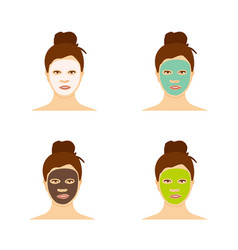 Different types facial masks and skin care set vector