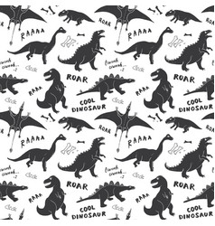 Dino seamless pattern cute cartoon hand drawn vector