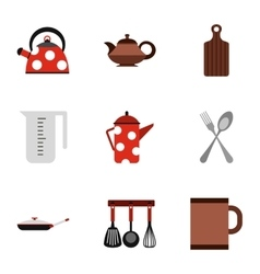 Dishes icons set flat style vector