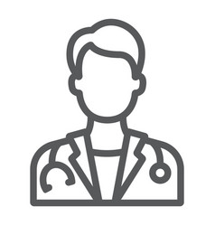 Doctor line icon medicine and hospital physician vector