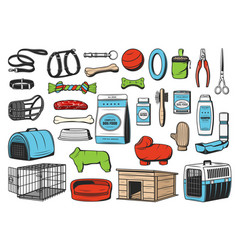 Dog animal care pet shop icons vector