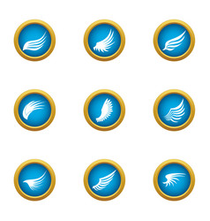 Flapping wing icons set flat style vector