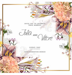 floral wedding invitation card template design vector image
