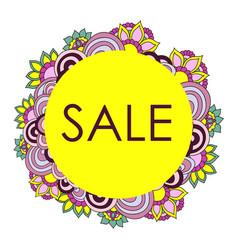 frame of flowers doodle sale card vector image