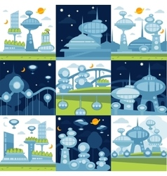 Future city landscapes set vector