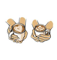 girl holding mug coffee or tea in her hand vector image