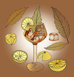 glass wine glass leg lemons slices leaves greenery vector image