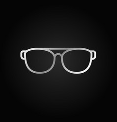 glasses silver icon on dark background vector image