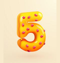 Glazed donut font number 5 number five cake vector