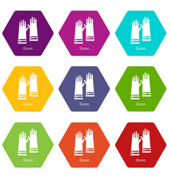 gloves cleaning icons set 9 vector image