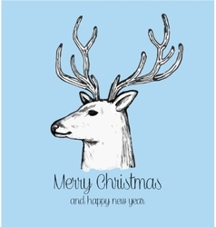 hand drawn reindeer face holiday greeting card vector image