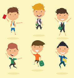 happy school boys jumping outdoor vector image