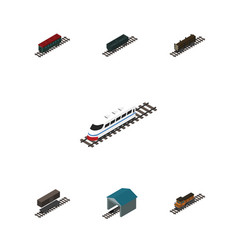 Isometric train set of depot train lumber vector