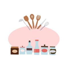 kitchen utensils jars wooden spoons vector image