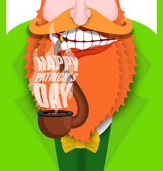 leprechaun smokes pipe patricks day smoking set vector image