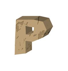 Letter p stone font rock alphabet symbol stones vector