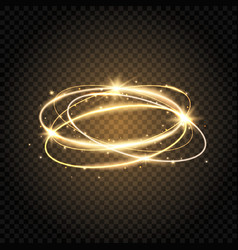 light swirl glow shiny spiral gold circle line vector image