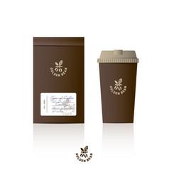 logo golden coffee glass packaging mock up vector image