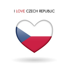 love czech republic symbol flag heart glossy icon vector image