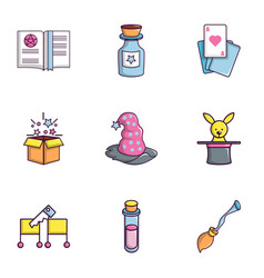 Magic icons set flat style vector