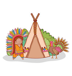 Man indigenous with turkey and camping tent vector