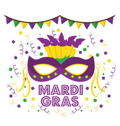 Mardi gras carnival masks with feathers garland vector
