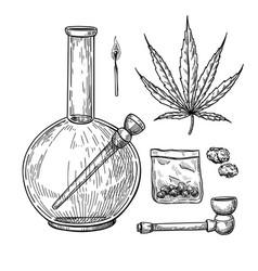 Marijuana or cannabis drawing set plant vector
