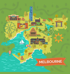 Melbourneaustralia map with landmarkssightseeing vector
