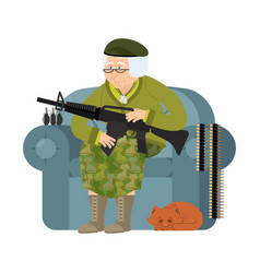 Military grandmother with gun army old woman in vector