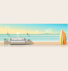 Modern bedroom with tropical beach wallpaper vector