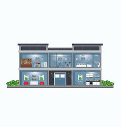 modern house cross section with rooms vector image