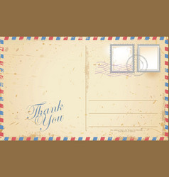 old retro vintage thank you postcard vector image