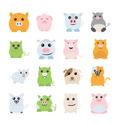 pig animal icons vector image