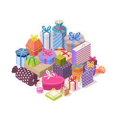 pile colorful gift boxes vector image