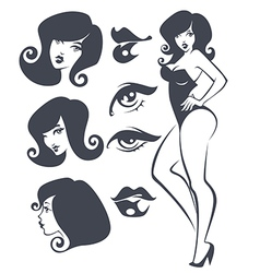 pinup collection vector image