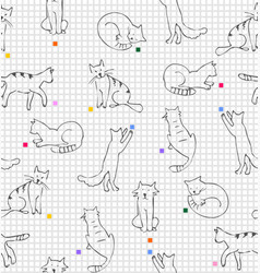 playing cats drawing on paper in line squares vector image