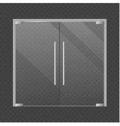 Realistic closed double glass store doors modern vector