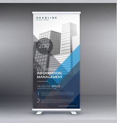 Roll up business template with blue and gray vector