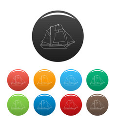 sailing ship icons set color vector image