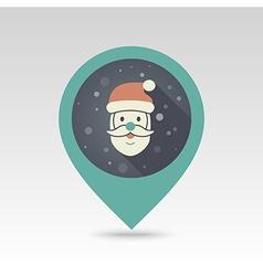 Santa Claus face Christmas pin map icon vector