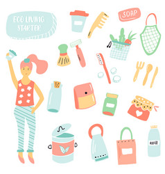 set items for zero waste living plastic free vector image