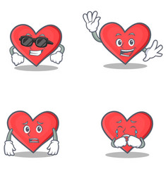 Set of heart character with cool waving afraid vector