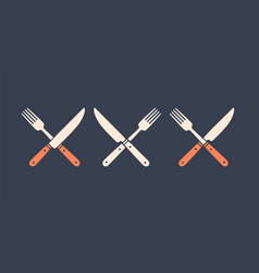 Set restaurant knife fork vector
