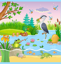 Set with nature and animals in the children vector
