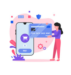 shopping payment via credit card vector image
