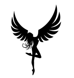 Silhouette girl with wings vector